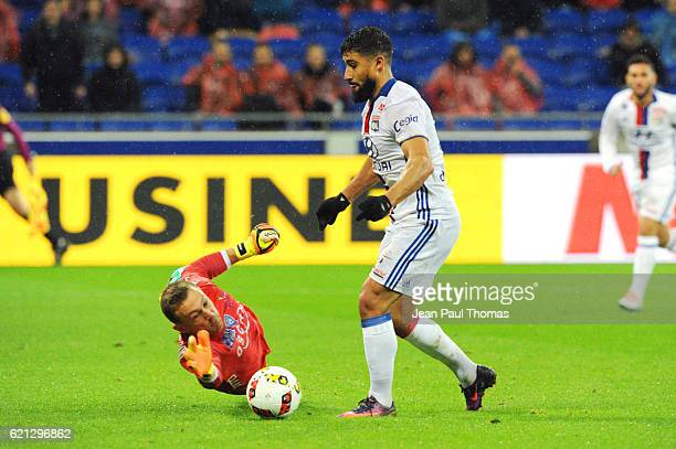 Paul CHARRUAU of Bastia and Nabil FEKIR of Lyon during the Ligue 1 match between Olympique Lyonnais and SC Bastia at Stade de Gerland on November 5...
