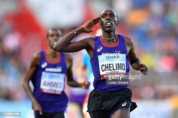 Paul Chelimo of Team Americas celebrates victory following the Mens 3000 Metres during day two of the IAAF Continental Cup at Mestsky Stadium on...