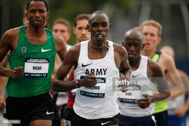 Paul Chelimo runs to victory in the Mens 5000 Meter Final during day 4 of the 2018 USATF Outdoor Championships at Drake Stadium on June 24 2018 in...