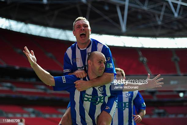 Paul Chow of Whitley Bay celebrates his goal during the FA Carlsberg Vase Final between Coalville Town and Whitley Bay at Wembley Stadium on May 8,...