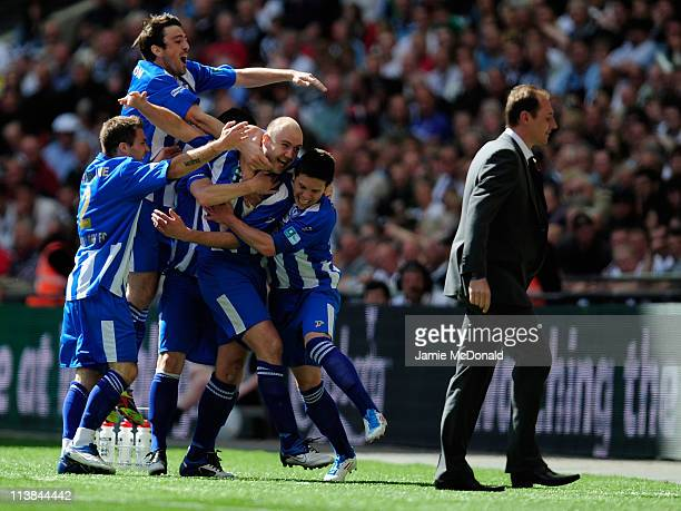 Paul Chow of Whitley Bay celebrates his goal with his team mates during the FA Carlsberg Vase Final between Coalville Town and Whitley Bay at Wembley...