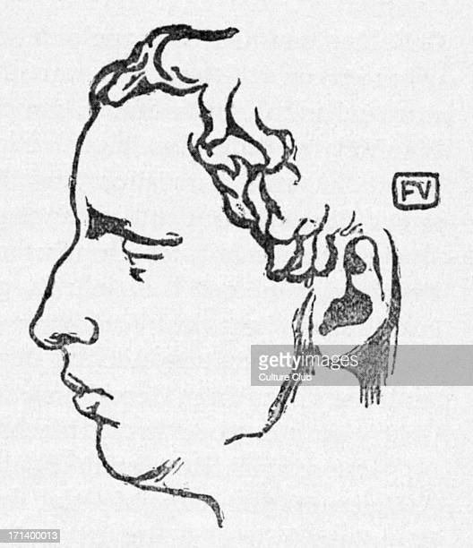 Paul Claudel portrait in profile of the French poet dramatist and diplomat Woodcut by the SwissFrench artist Felix Vallotton 18651925 6 August 1868...
