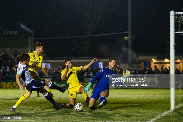 Paul Clayton of Guisley misses a chance on goal late on during The Emirates FA Cup Second Round match between Guisley and Fleetwood Town at...