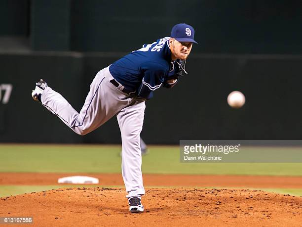 Paul Clemens of the San Diego Padres warms up in the first inning of the MLB game against the Arizona Diamondbacks at Chase Field on October 2 2016...