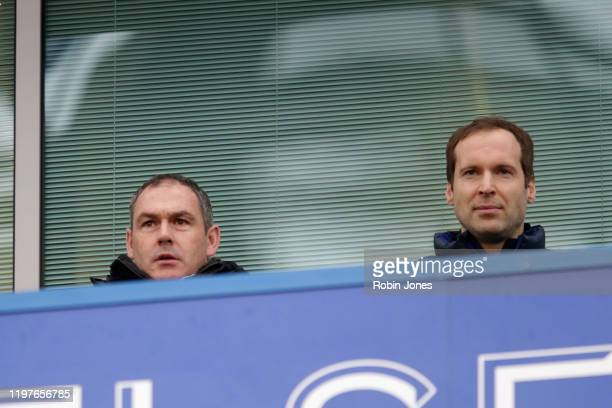 Paul Clement and Petr Cech during the FA Cup Third Round match between Chelsea FC and Nottingham Forest at Stamford Bridge on January 05 2020 in...