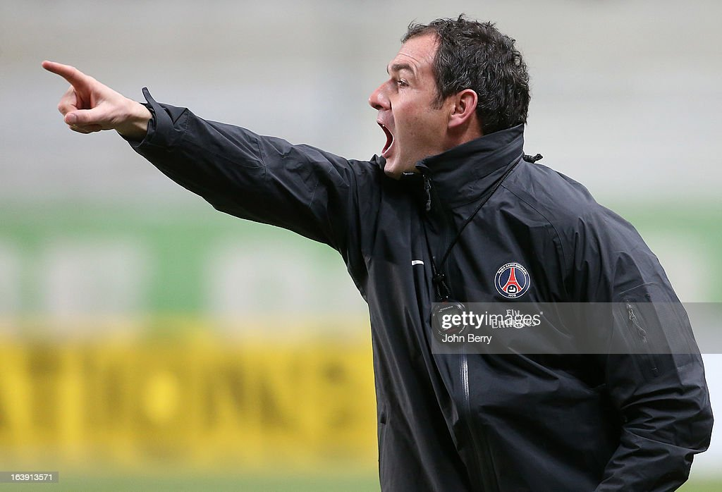 Paul Clement, assistant-coach of PSG gives his instructions during the Ligue 1 match between AS Saint-Etienne ASSE and Paris Saint-Germain FC at the Stade Geoffroy-Guichard on March 17, 2013 in Saint-Etienne, France.