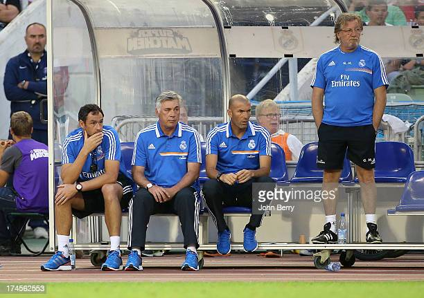 Paul Clement assistantcoach of Real Madrid Carlo Ancelotti coach of Real Madrid and Zinedine Zidane assistantcoach and Giovanni Mauri fitness coach...