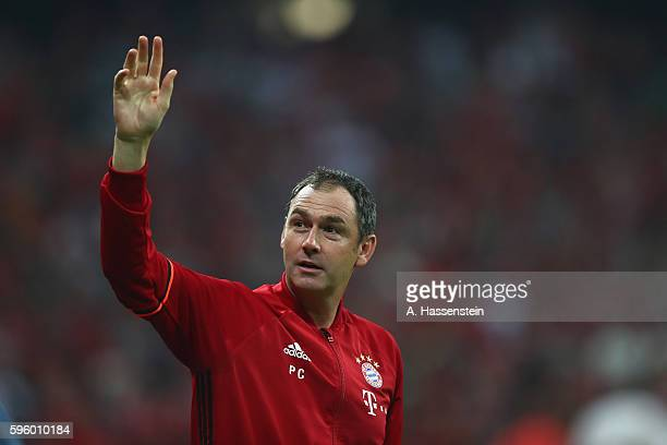 Paul Clement assistent coach of Muenchen reacts during the Bundesliga match between Bayern Muenchen and Werder Bremen at Allianz Arena on August 26...