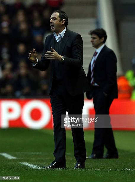 Paul Clement manager of Derby County during the Sky Bet Championship soccer match between Middlesbrough and Derby County on January 2 2016 in...