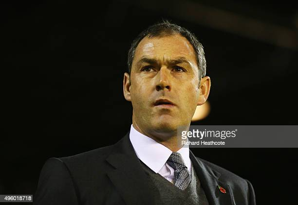 Paul Clement manager of Derby County looks on prior to the Sky Bet Championship match between Nottingham Forest and Derby County at City Ground on...