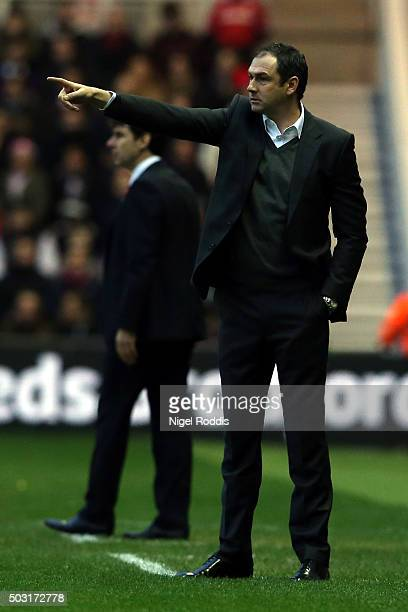 Paul Clement manager of Derby County points during the Sky Bet Championship soccer match between Middlesbrough and Derby County on January 2 2016 in...
