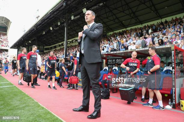 Paul Clement Manager of Swansea City adjusts his suit during the Premier League match between Crystal Palace and Swansea City at Selhurst Park on...