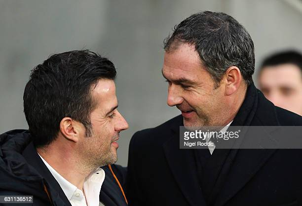 Paul Clement Manager of Swansea City and Marco Silva Manager of Hull City speak during the Emirates FA Cup third round match between Hull City and...