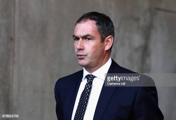 Paul Clement Manager of Swansea City arrives at the stadium prior to the Premier League match between Swansea City and AFC Bournemouth at Liberty...