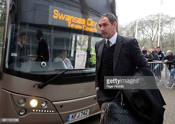 Paul Clement manager of Swansea City arrives prior to the Emirates FA Cup third round match between Hull City and Swansea City at KCOM Stadium on...