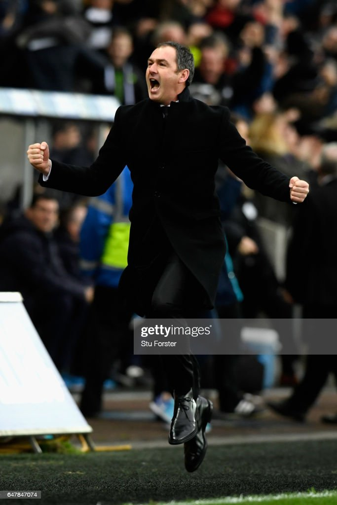 Paul Clement, Manager of Swansea City celebrates after the Premier League match between Swansea City and Burnley at Liberty Stadium on March 4, 2017 in Swansea, Wales.