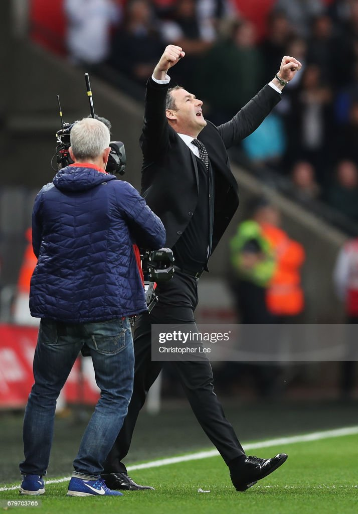 Paul Clement, Manager of Swansea City celebrates after the Premier League match between Swansea City and Everton at the Liberty Stadium on May 6, 2017 in Swansea, Wales.
