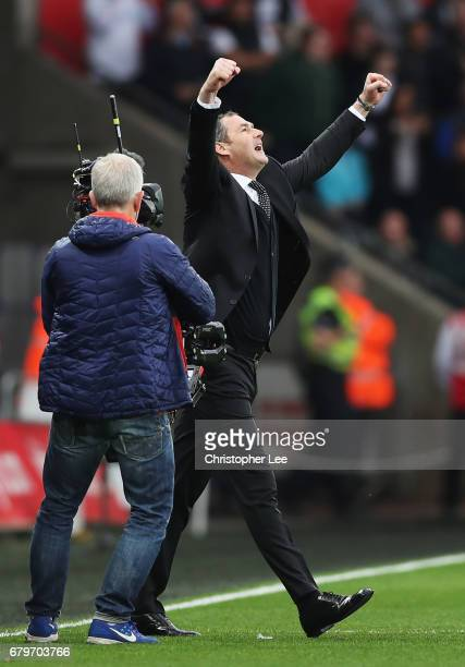 Paul Clement Manager of Swansea City celebrates after the Premier League match between Swansea City and Everton at the Liberty Stadium on May 6 2017...