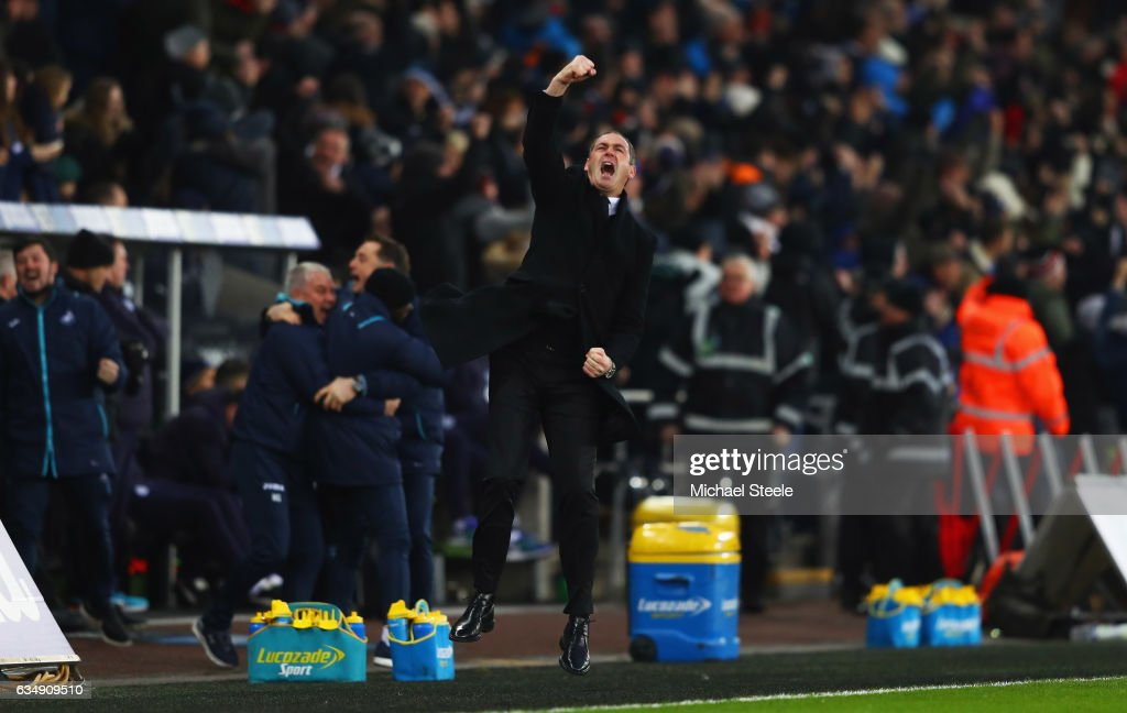 Paul Clement manager of Swansea City celebrates as Martin Olsson of Swansea City scores their second goal during the Premier League match between Swansea City and Leicester City at Liberty Stadium on February 12, 2017 in Swansea, Wales.