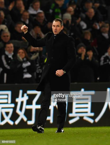 Paul Clement manager of Swansea City celebrates victory after the Premier League match between Swansea City and Leicester City at Liberty Stadium on...