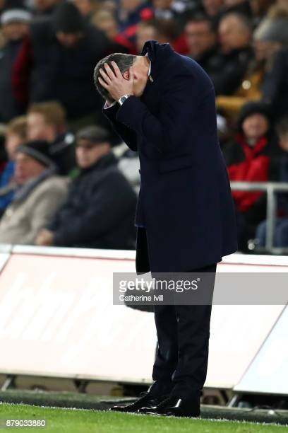 Paul Clement Manager of Swansea City looks dejected during the Premier League match between Swansea City and AFC Bournemouth at Liberty Stadium on...