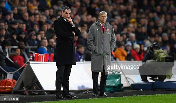 Paul Clement Manager of Swansea City looks on during the Premier League match between Swansea City and Arsenal at Liberty Stadium on January 14 2017...