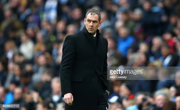 Paul Clement Manager of Swansea City looks on during the Premier League match between Manchester City and Swansea City at Etihad Stadium on February...