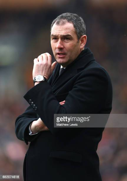 Paul Clement Manager of Swansea City looks on during the Premier League match between Hull City and Swansea City at KCOM Stadium on March 11 2017 in...