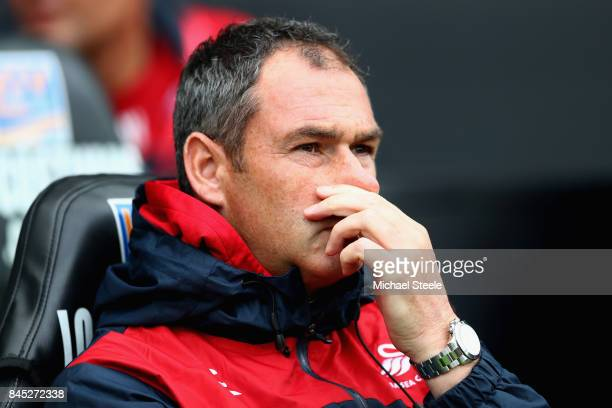 Paul Clement Manager of Swansea City looks on during the Premier League match between Swansea City and Newcastle United at Liberty Stadium on...