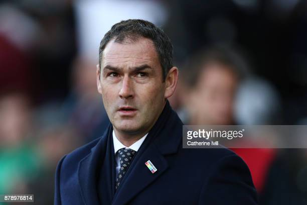 Paul Clement Manager of Swansea City looks on during the Premier League match between Swansea City and AFC Bournemouth at Liberty Stadium on November...