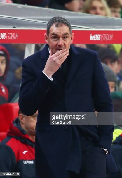 Paul Clement Manager of Swansea City looks on during the Premier League match between Stoke City and Swansea City at Bet365 Stadium on December 2...