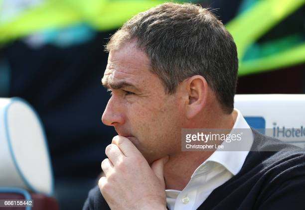 Paul Clement Manager of Swansea City looks on prior to the Premier League match between West Ham United and Swansea City at London Stadium on April 8...