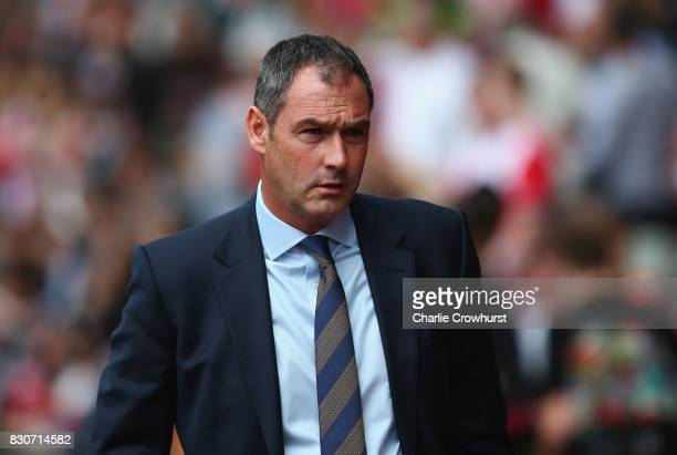 Paul Clement Manager of Swansea City looks on prior to the Premier League match between Southampton and Swansea City at St Mary's Stadium on August...