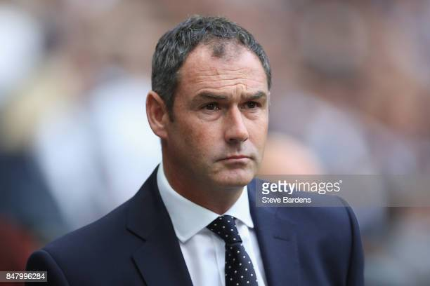 Paul Clement Manager of Swansea City looks on prior to the Premier League match between Tottenham Hotspur and Swansea City at Wembley Stadium on...