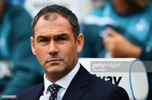 Paul Clement Manager of Swansea City looks on prior to the Premier League match between West Ham United and Swansea City at London Stadium on...