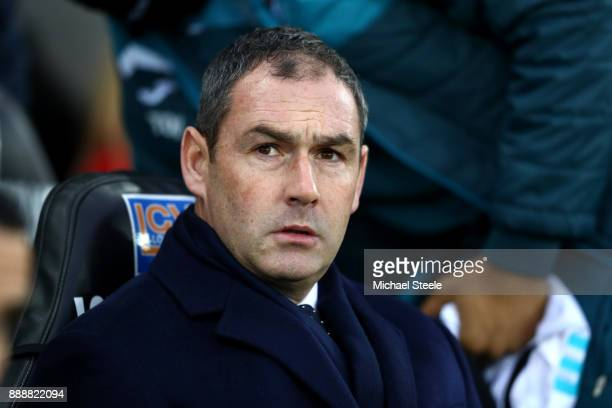 Paul Clement Manager of Swansea City looks on prior to the Premier League match between Swansea City and West Bromwich Albion at Liberty Stadium on...