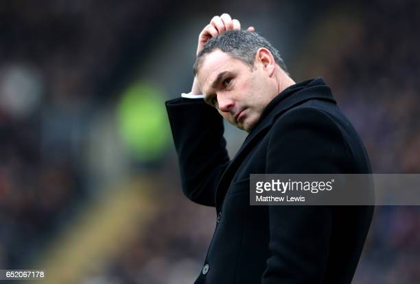 Paul Clement Manager of Swansea City reacts during the Premier League match between Hull City and Swansea City at KCOM Stadium on March 11 2017 in...