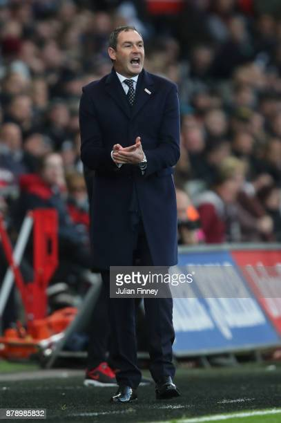 Paul Clement Manager of Swansea City reacts during the Premier League match between Swansea City and AFC Bournemouth at Liberty Stadium on November...