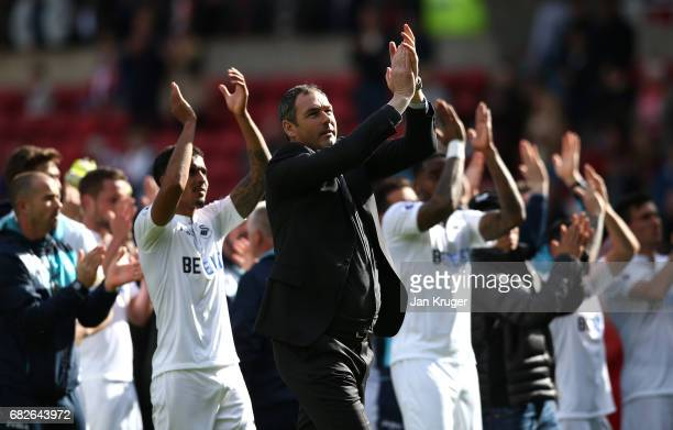 Paul Clement Manager of Swansea City shows appreciation to the fans after the Premier League match between Sunderland and Swansea City at Stadium of...