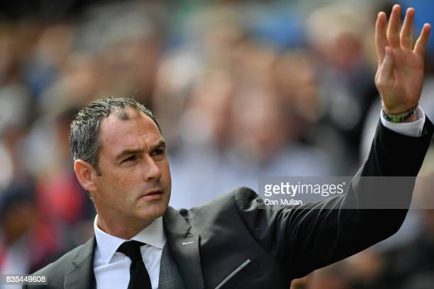 Paul Clement Manager of Swansea City shows appreciation to the fans prior to the Premier League match between Swansea City and Manchester United at...