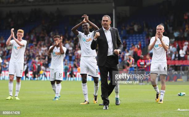 Paul Clement Manager of Swansea City shows appreciation to the fans after the Premier League match between Crystal Palace and Swansea City at...