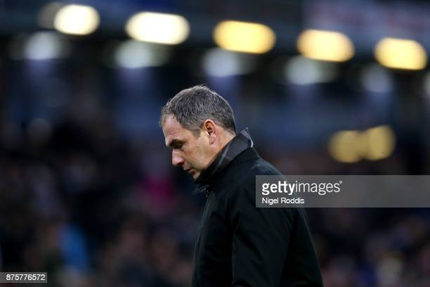 Paul Clement Manager of Swansea City walks off at the half time during the Premier League match between Burnley and Swansea City at Turf Moor on...