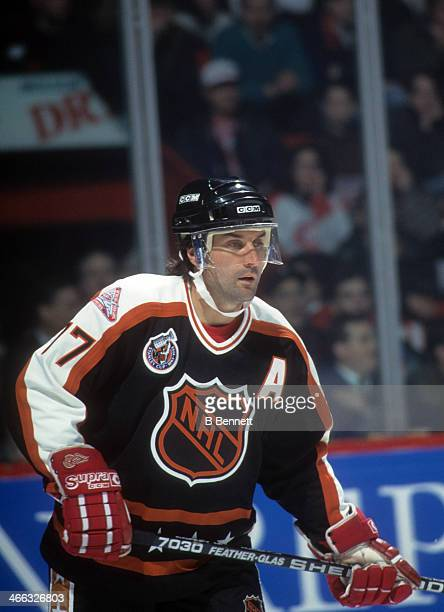 Paul Coffey of the Campbell Conference and the Detroit Red Wings skates on ice during the 1993 44th NHL All-Star Game against the Wales Conference on...