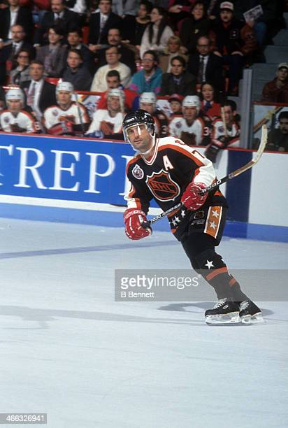 Paul Coffey of the Campbell Conference and the Detroit Red Wings skates on ice during the 1993 44th NHL AllStar Game against the Wales Conference on...