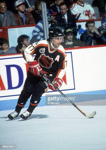 Paul Coffey of the Campbell Conference and the Detroit Red Wings skates with the puck during the 1993 44th NHL AllStar Game against the Wales...