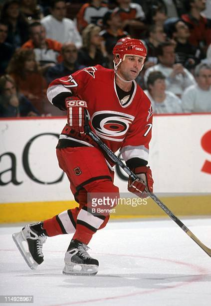 Paul Coffey of the Carolina Hurricanes skates on the ice during an NHL game against the Philadelphia Flyers on March 30 1999 at the First Union...