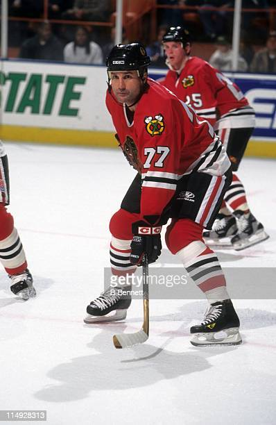 Paul Coffey of the Chicago Blackhawks waits for the faceoff during an NHL game against the Los Angeles Kings on November 21 1998 at the Great Western...