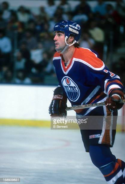 Paul Coffey of the Edmonton Oilers skates on the ice during an NHL game against the New York Islanders on November 16 1985 at the Nassau Coliseum in...
