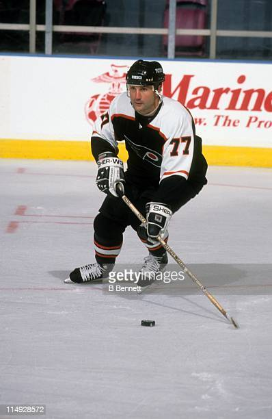 Paul Coffey of the Philadelphia Flyers skates with the puck during an NHL game against the New York Rangers circa 1998 at the Madison Square Garden...