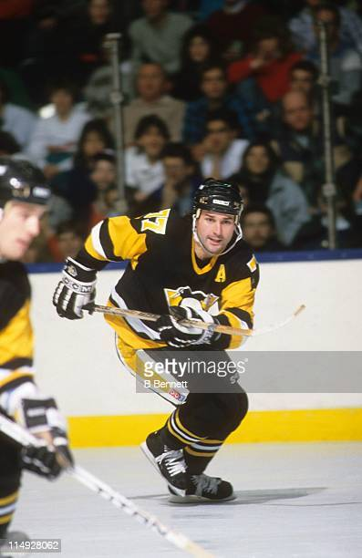 Paul Coffey of the Pittsburgh Penguins skates on the ice during an NHL game in January 1988